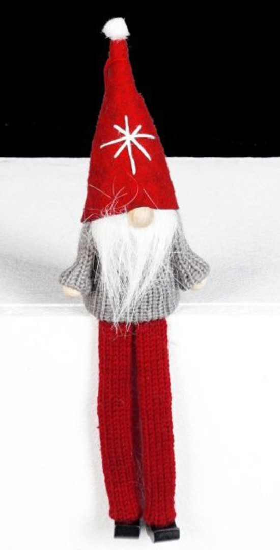 Santa Grey Knit Jumper, Red Hat image 0